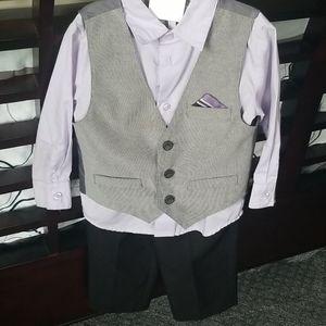 3 piece boys vest, button up and dress pants
